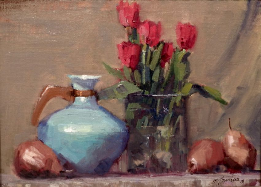 Red Pears and Tulips by Mark Farina