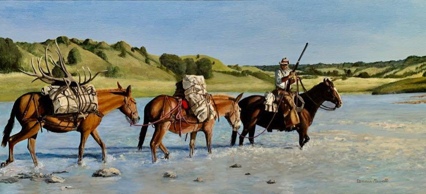 Crossing the Cheyenne Dennis Newell 18x38 oil