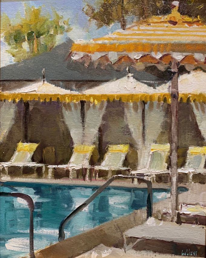 Miramar Pool Dan LaVigne 14x11 oil