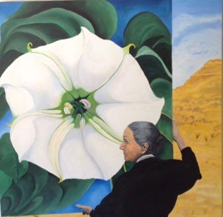 O'Keeffe Flower Dennis Newell 40x40 oil