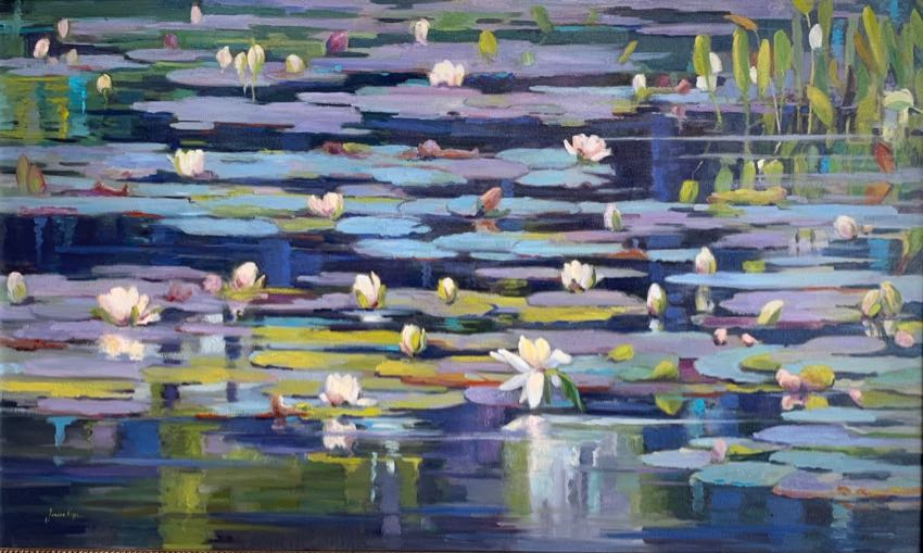 Watergarden at Dusk 30x50 JordanPope oil