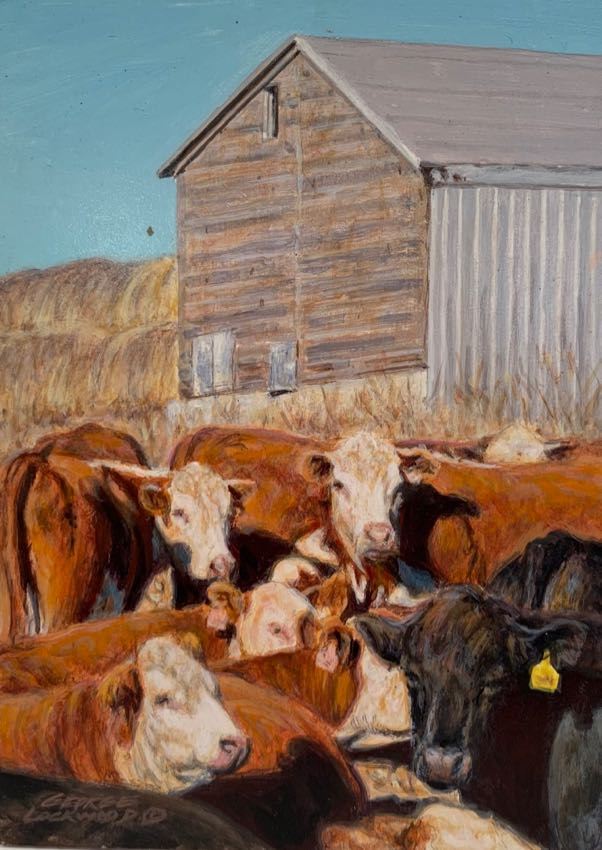 Weaning Time George Lockwood 7x5 acrylic