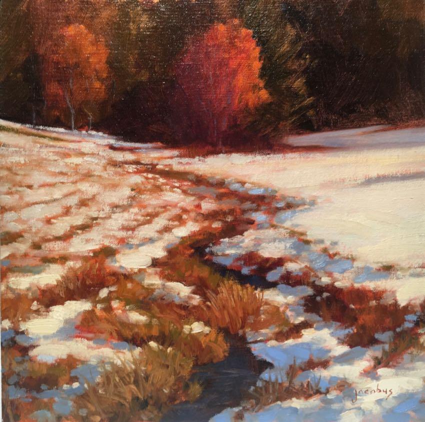 Autumn Snow Jacobus Baas 12x12 oil
