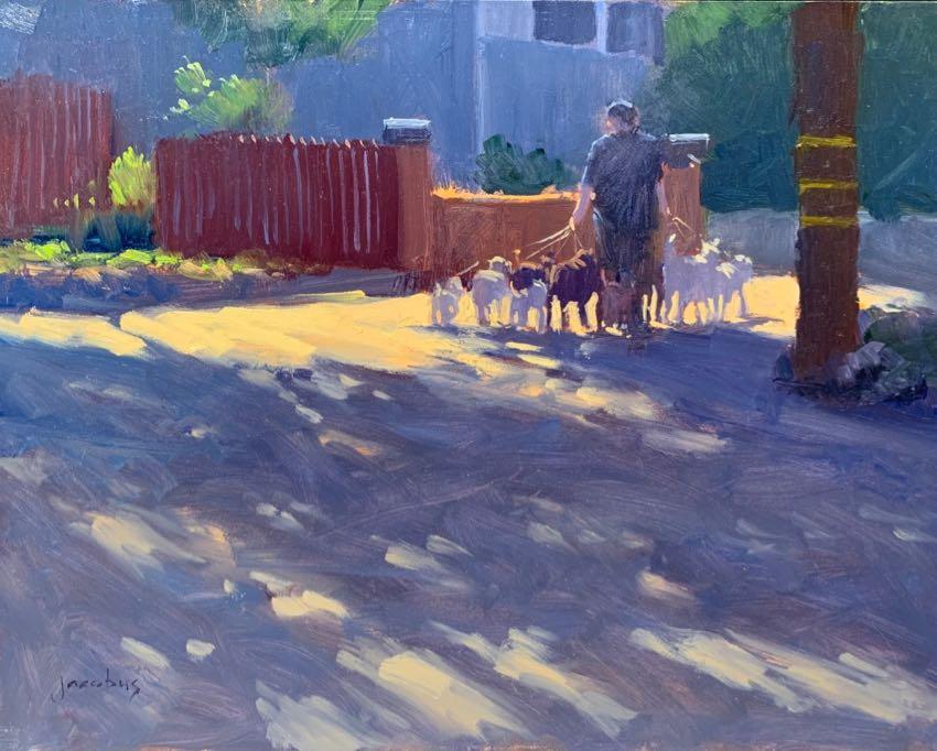 Dog Walker Jacobus Baas 11x14 oil