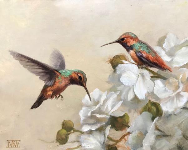 Hummingbirds M.K. West 8x10 oil $1000