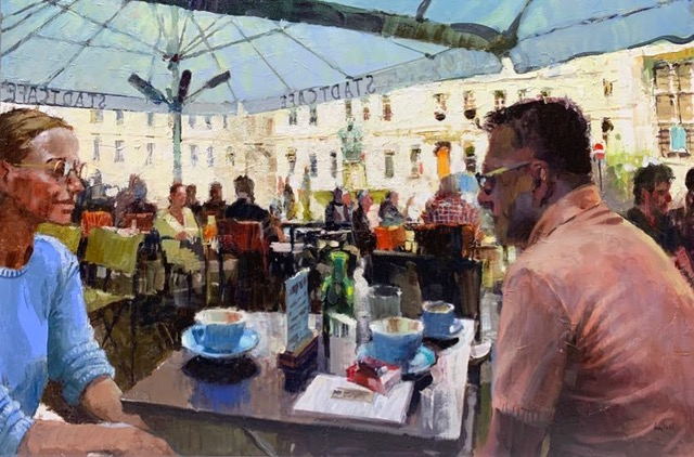 "Coffee Talk Vienna 24""x36"" Dan LaVigne"