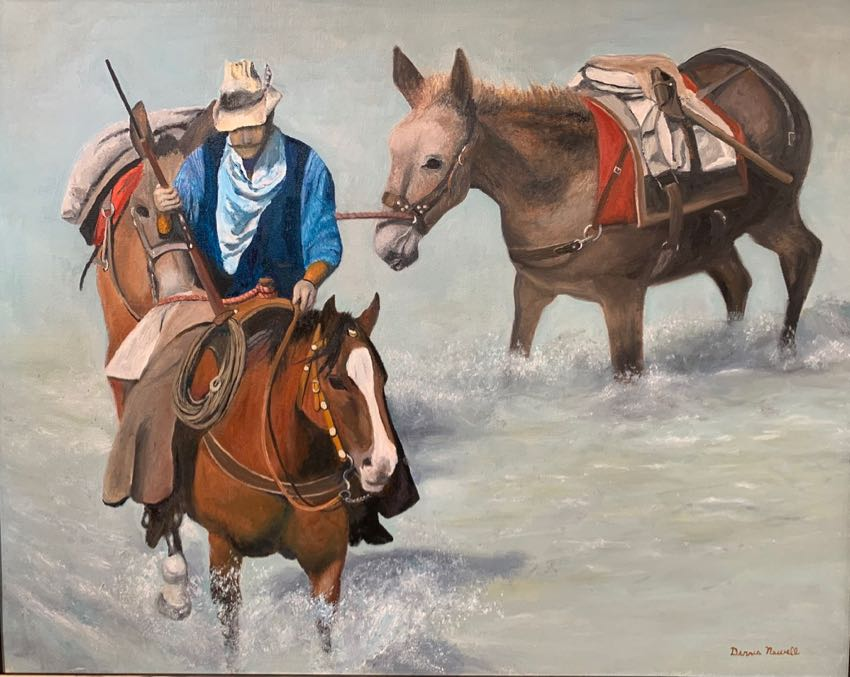 Leading Two Mules 24x30 Newell